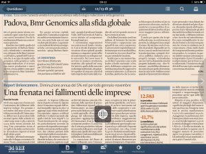 Intervista al Sole 24 ore del CEO di BMR Genomics, dr.ssa Barbara Simionati.